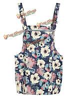 Напечатанные цветы голубого цвета с погонами юбка короткая юбка