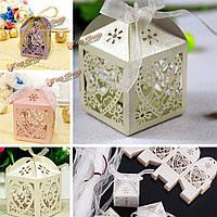 10шт сердце картины ленты лазером выдалбливают свадебный подарок коробка конфет шоколада хранения