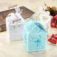 12шт белый крест ленты лазером выдалбливают свадебный подарок коробка конфет шоколада хранения