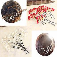 6шт свадебный выпускной вечер белый красный жемчуг цветок зажим для волос булавка свадьба Jewellry красота