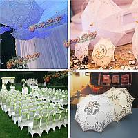 21-дюймовwomen невесты шнурка хлопка вышивки выдолбить зонтик зонтик украшение свадьбы опору