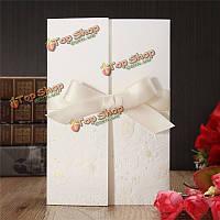 10шт цветок лазерные ленты бантом свадьба вечерние приглашения карты персонализированные конверты печатей