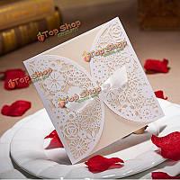 10шт лазерная резка выдалбливают бантом свадьба вечерние приглашения карты персонализированные конверты печатей
