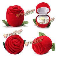Романтичная бархатная роза обручальное кольцо серьги ожерелья коробки ювелирных изделий коробки