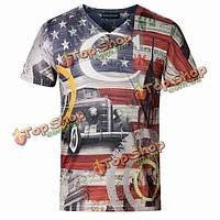 Мужская хлопка американский флаг включен в шею, не так tshirts