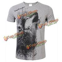 Мужчины летом волк печать короткий рукав тонкий случайные воротник экипажа хлопка футболки