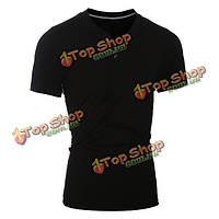 Мужские сплошной цвет базовых эфирных Tshirts шеи экипажа с короткими рукавами футболки