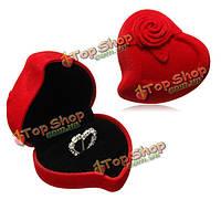 Невеста жених из красного бархата сердце цветок роза двойную коробку обручального кольца