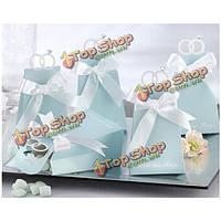 10шт голубой бриллиант Тип кольца бумажная свадьба конфеты коробки