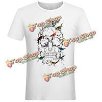 Мужские творческие brids черепа печати вскользь смешные тройники верхних частей с коротким рукавом белой футболке