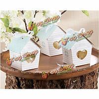 10шт Mini дом конфеты коробки с Clear сердца Свадебный дар