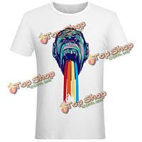 Летний творческий король конг смайликов моды обезьяны случайные футболки топы для женщин мужчин