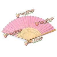 Веер китайский розовый шелк+бамбук