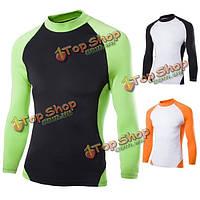Мужчины эластичная ткань быстро сухие длинными рукавами реглан рукав Одежда для велосипедного тренажерный зал колготки футболки