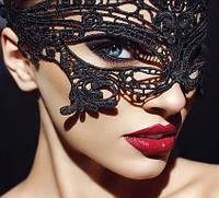 Кружевная маска для сна, для игр, для фотосетов, маска черная. Розница, опт. Украина.