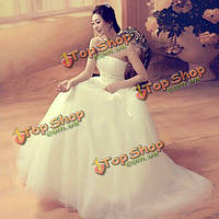 Невесты без бретелек труба тонкая высокая талия бантом ремешок свадебное платье