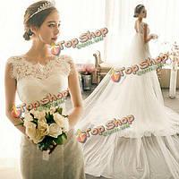 Невесты белая фата элегантный кружева органзы длинный рыбий хвост свадебное платье