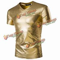 Мужской золотой фольгирование производительности трикотажные футболки с коротким рукавом партия тонкий Fit v шеи футболки
