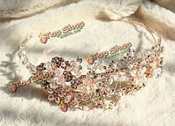 Золотые цветочные свадебные головные кристалл rhinestone свадьба свадебная тиара оголовье