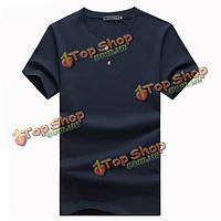 Мужская хлопок сплошной цвет шеи экипажа с короткими рукавами футболки рубашки базовые