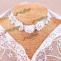 Готический ретро белое кружево жемчужно розовое колье свадебные аксессуары