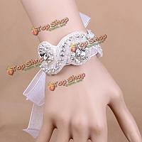 Свадебный белый горный хрусталь ленты кристалл браслет свадьбы руки браслет ювелирные изделия цепи