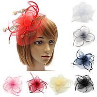 Невеста женщины цветок перо сетка чародей свадьба головные уборы