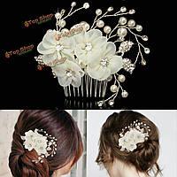 Невеста бежевый цветок горный хрусталь жемчужина волос гребень элегантный выпускного вечера венчания свадебный головной убор
