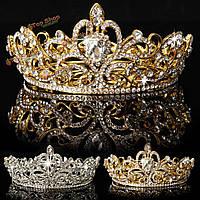 Невеста золото серебро горный хрусталь хрусталь корона тиара голова ювелирных принцесса королева свадебный головной убор