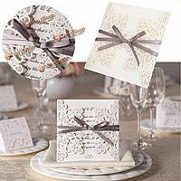 1шт лазерная резка выдолбить Bowknot ленты свадебные вечерние приглашения карточки конверты пломб