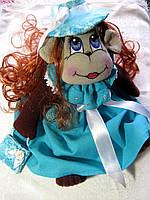 Текстильная игрушка Обезьянка в шляпе ручной работы 31 см, фото 1