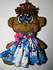 Кофейные игрушки Обезьянка в синем платье ручной работы 21 см