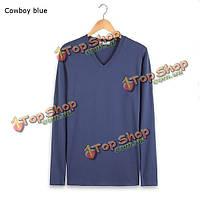 3 цвета мужская хлопок тонкий V-образным вырезом с длинными рукавами дизайн одежды футболки