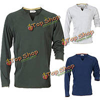 Мужчины быстро сухой длинный рукав рабочую одежду из хлопка с V-образным вырезом T-shirtstops