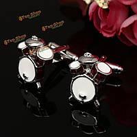 Мужчины мужчины 3d красный белый барабан шаблон запонки свадебный подарок костюм рубашки аксессуары