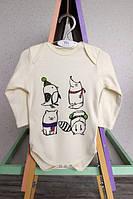 Детский бодик для новорожденных мальчиков и для девочек с животными с длинным рукавом