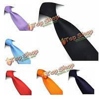 PenSee мужской галстук 100% полиэстер шелк твердой полосой нескольких цветов формальный галстук