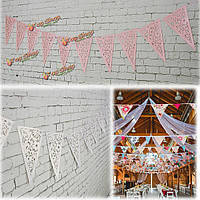 8м белая сирень бумага треугольник выдолбить свадьба гирлянда овсянка украшения мешковины шпагатом