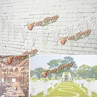 8M 16pieces украшение флаг цветочный треугольник свадьба ретро белое кружево конфетти баннер партия