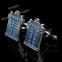 Мужчины мужчины серебра полиции коробки шаблон синий эмали Запонки свадебный подарок костюм рубашки аксессуары