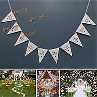Баннер конфетти поставок Гирлянда партия домой овсянка Свадебное Г-н & Mrs треугольник форма