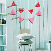 Баннер висит бумага гирлянда цепи партия овсянка украшения Розовый форма треугольник любовь Свадебное красный