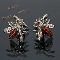 Мужчины мужской серебряный Bee кристаллический образец Запонки свадебный подарок костюм рубашки аксессуары