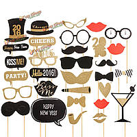32шт DIY маска золото фото стенд реквизита усов палки свадьба день рождения украшение благосклонности партии