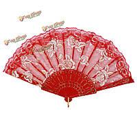 Испанский стиль кружева шелк пластиковые розы напечатаны складные веера ручной танец украшение благосклонности венчания партии