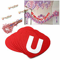 Я люблю тебя красный форме сердца свадьба баннер висит бумага гирлянда цепи партия овсянка украшения