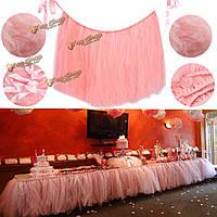 Розовый 80 * 100см тюль украшение Пачка стол юбка свадьба день рождения душа ребенка посуда