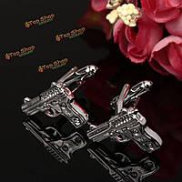 Мужчины мужские рубашки аксессуары серебро медь пистолет пистолет модели запонок свадебный подарок костюм