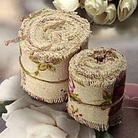2m/5м роза распечатаны мешковины Гессиан джут ленты украшение цветочные свадебного банкета