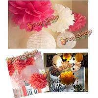 Папиросной бумаги помпоны гирлянда бал цветов для украшения свадьбы